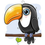 Cartoon Toucan is sitting on a branch - 222107409