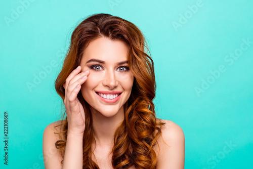 Leinwandbild Motiv Portrait of attractive, pretty, dreamy, charming, pleased, satis