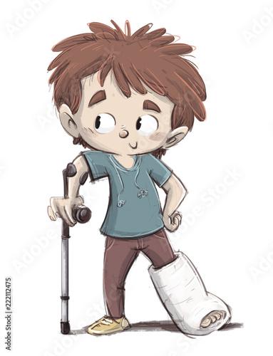 niño con la pierna rota y muleta - 222112475
