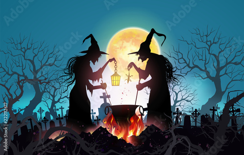 Fototapeta Happy Halloween background with Old witch with magical potion and the dead trees under the moonlight.- Vector illustration