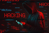 Computer hacking concept with faceless hooded male person - 222114609