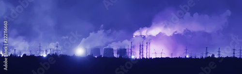mata magnetyczna landscape night smoke pipe industry / factory landscape horizontal, concept pollution, smoke, ecology