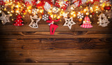 Christmas rustic background with wooden planks - 222127083