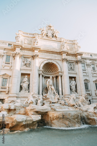 The Trevi fountain in Rome, a beautiful sight. Ancient architecture and sculpture. Art on the street, the most beautiful fountain in Europe. Miracle of light - 222131619