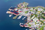 Beautiful vief of the blue sea surrounding the fishing village Moskenes, Lofoten, Norway, sunny arctic summer - 222137667