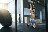 Gym. Crossfit Man Training With Dumbbells At Fitness Club - 222140034