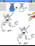 drawing and coloring worksheet with monster - 222143404