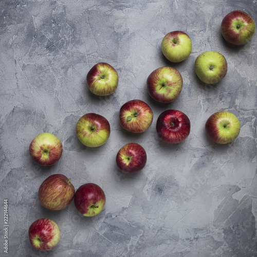 Foto Murales Composition of apple at gray background