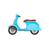 Flat vector icon of blue scooter with brown seat. Two-wheeled open motor vehicle. Modern urban transport
