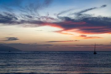 Wonderful sunset in french polynesia