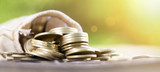 Investor business success concept - web banner of gold money coins - 222151085