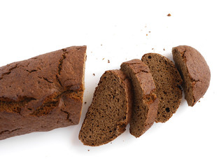 Rye bread sliced isolated on white background top view.