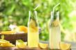 Leinwandbild Motiv Bottles of fresh lemonade on wooden board