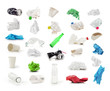 Leinwanddruck Bild - Collection of trash isolated on a white background