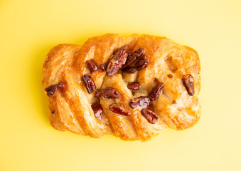 braid cake with nuts in colorful background