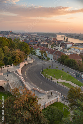 Poster sunrise in Budapest 2018 at Fisherman's bastion morning beauty
