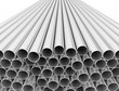 Metal tubes on white background