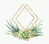 Watercolor vector composition of cacti, succulents and geometric Golden frame. - 222166440