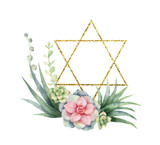 Watercolor vector composition of cacti, succulents and gold Star of David. - 222166483