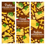 Italian pasta banners with Italy pastry food