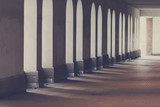 Corridor walk way. Beautiful architecture. Image has a vintage effect applied. - 222168448