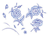 Set of blue flowers on white background, vector illustration. Decorative stylized ornament of abstract roses, for textile prints, dishes and other designs. - 222172456