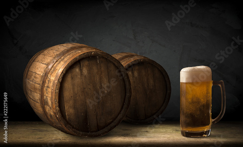 background of barrel and worn old table of wood - 222175649