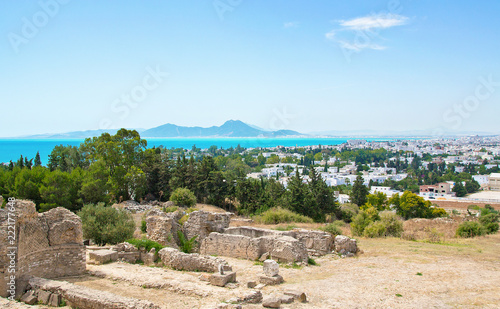 Foto Murales Tunisia landscape view from Byrsa hill on town, sea and mountains