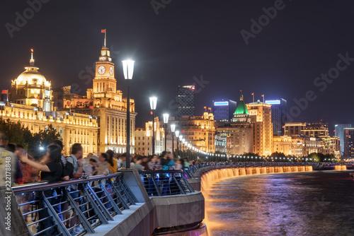 Leinwanddruck Bild Beautiful night view of the Bund (Waitan) in Shanghai, China