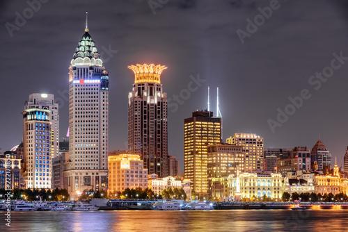 Fototapeta Beautiful night view of Puxi skyline in Shanghai, China