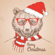 Christmas Hipster fashion animal bear dressed  a New Year hat and scarf