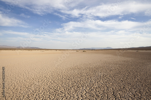 Dry lake between Baker and Death Valley in the California Mojave desert.   - 222183401