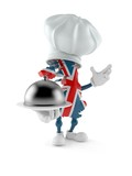 UK character holding catering dome - 222184681
