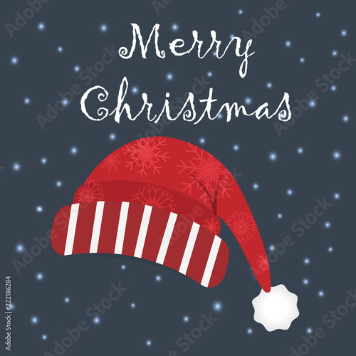 Merry Christmas season with Red hat and snow illustration on dark background