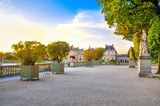 France, Versailles, 2017 - beautiful Versailles palace at sunset from the sun - 222188622