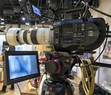 Professional tv camera in live show pavilion. - 222190473