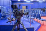 Professional tv camera in live show pavilion. - 222191201