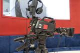 Professional tv camera in live show pavilion. - 222191232