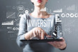 Leinwanddruck Bild - University with business woman using a tablet computer