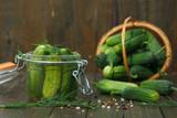 Pickled cucumbers in the jar - 222198650