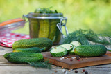 Pickled cucumbers,  traditional Russian appetizer - 222200269