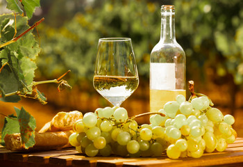 still life with glass of White wine grapes and bread on table in field