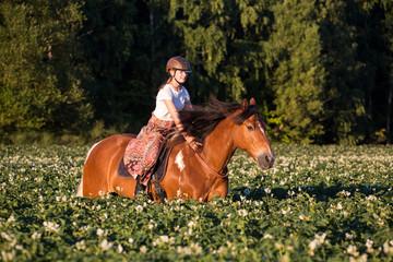 Reiterin galoppiert frei durchs Feld © Nadine Haase