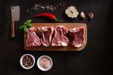 Raw fresh Lamb Meat ribs and seasonings on dark wooden background - 222205667