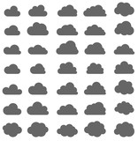 Set of grey clouds isolated on white background.