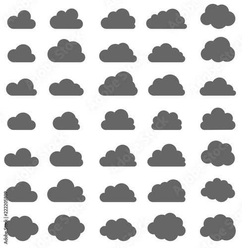Set of grey clouds isolated on white background. - 222205809