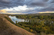 West Calgary view towards east and downtown with Bow river, on a fall evening