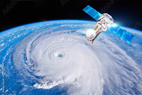 Research, probing, monitoring hurricane Florence. Satellite above the Earth makes measurements of the weather parameters. Elements of this image furnished by NASA.
