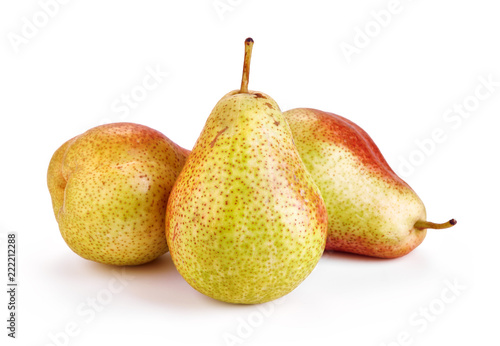 fresh ripe pears isolated on white background - 222212288