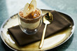 New york cheese cake dessert with mousse with apple cream, caramel, muskovado, close-up. Healthy breakfast food
